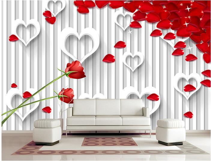3d wallpaper custom mural non-woven 3d room wallpaper 3 d heart-shaped rose setting wall  murals photo wallpaper for walls 3 d