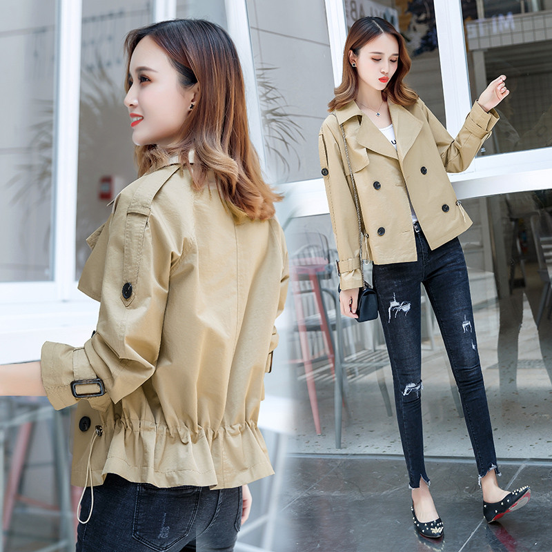 2019 Spring Autumn Casual   Trench   Coat for Women Double-breasted Short Windbreaker Female Loose Plus Size Coat Girls Tops x776
