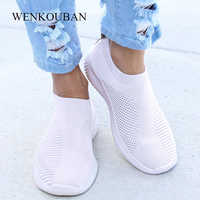 Zapatos planos De Mujer, a la moda Zapatillas De deporte, mocasines De Mujer, calcetines De primavera, Zapatos, cesta vulcanizada, Zapatos De Mujer