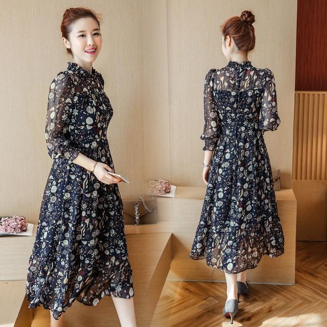 365dac663e475 فساتين الأمومة 2018 الربيع و الصيف جديد الكورية أزياء الشيفون طويلة الأكمام  الأزهار الحوامل امرأة فستان