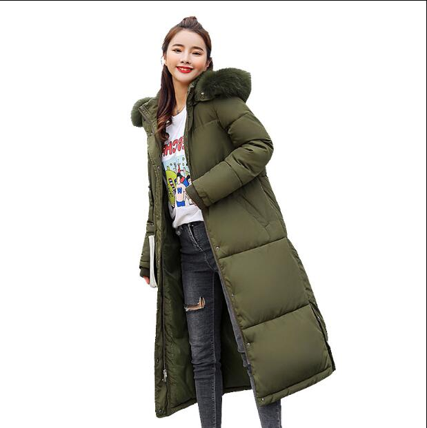 Hooded Fur Collar Winter   Down     Coat   Jacket Long Thick Warm Women Casaco Feminino Abrigos Mujer Invierno Student Wadded Parkas F6