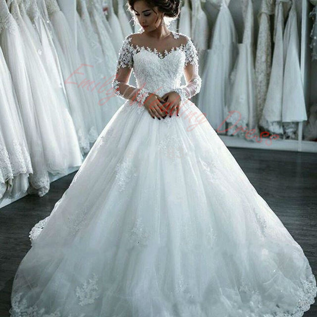 Princess style Wedding Dress Long Sleeves Unique Lace 3D Appliqued ...