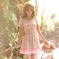 Принцесса сладкий лолита платье Конфеты дождь 2016 летний новый женщины студенты сладкий Цветочный Шифон falbala летом небольшой свежий C16AB6048