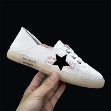 35-43 Summer Fashion Flat Shoes Women Sneakers Casual Cow Leather Stitching Soft Walking Footwear Star High Quality