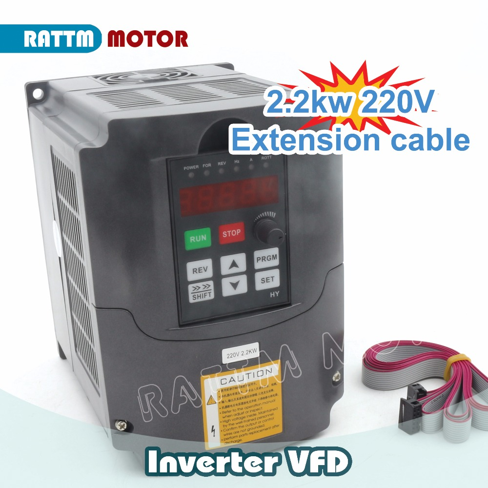цена на Ukraine Free Delivery! HY 2.2KW 220V Variable Frequency VFD Inverter Output 3 phase 400Hz 10A&Extension cable/Control panel box