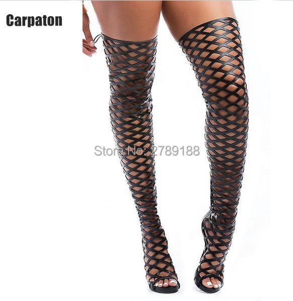 Sexy Women Summer Studded Thigh High boots High heel Net Cut Outs Spinal Over The Knee Gladiator Sandals Long Boots summer cut outs gladiator sandals boots women sexy peep toe over knee boots high heels thigh high sandal boots