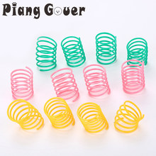 10Pcs/LOT Plastic Spring Cat Toy Colorful Bounce Spring Cats Pet Toys(China)