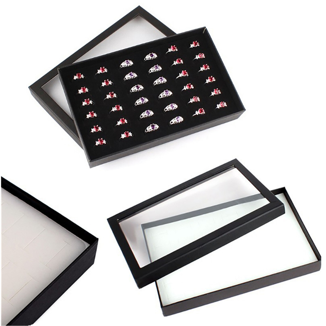 Transparent Window PVC 36 Slots Ring Box Tray Storage Case Earrings Jewelry Display Holder Organizer Practical Show Case