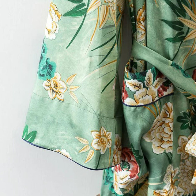 X192 women vintage floral print green color long design jacket kimono outwear ladies summer double pockets with belt jackets top 4