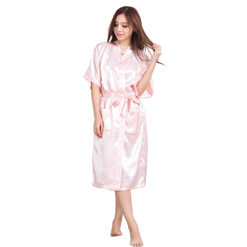 e94ec951ff Women Silk Satin Long Wedding Bride Bridesmaid Robe Night Kimono Robe Solid Bathrobe  Fashion Dressing Gown