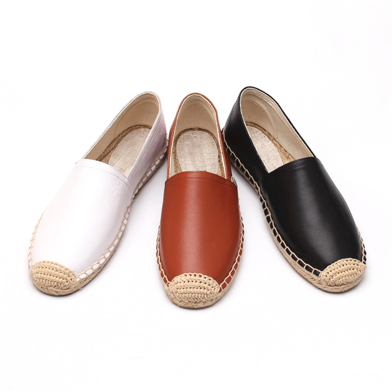 Chaussures Espadrilles Plat chocolat Casual Femmes Nouveau blanc Mode Dame Dzym Cuir On Véritable Slip Noir Plates Automne v8N0nOwm