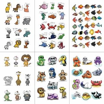 HXMAN Cartoon Animals Children Temporary Tattoo Sticker Waterproof Fashion Fake Body Art Tattoos 9.8X6cm Kids Face Tatoo B-030