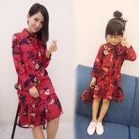 Mommy And Me Family Matching Autumn Mother Daughter Dresses Clothes Floral Mom And Daughter Dress Kids