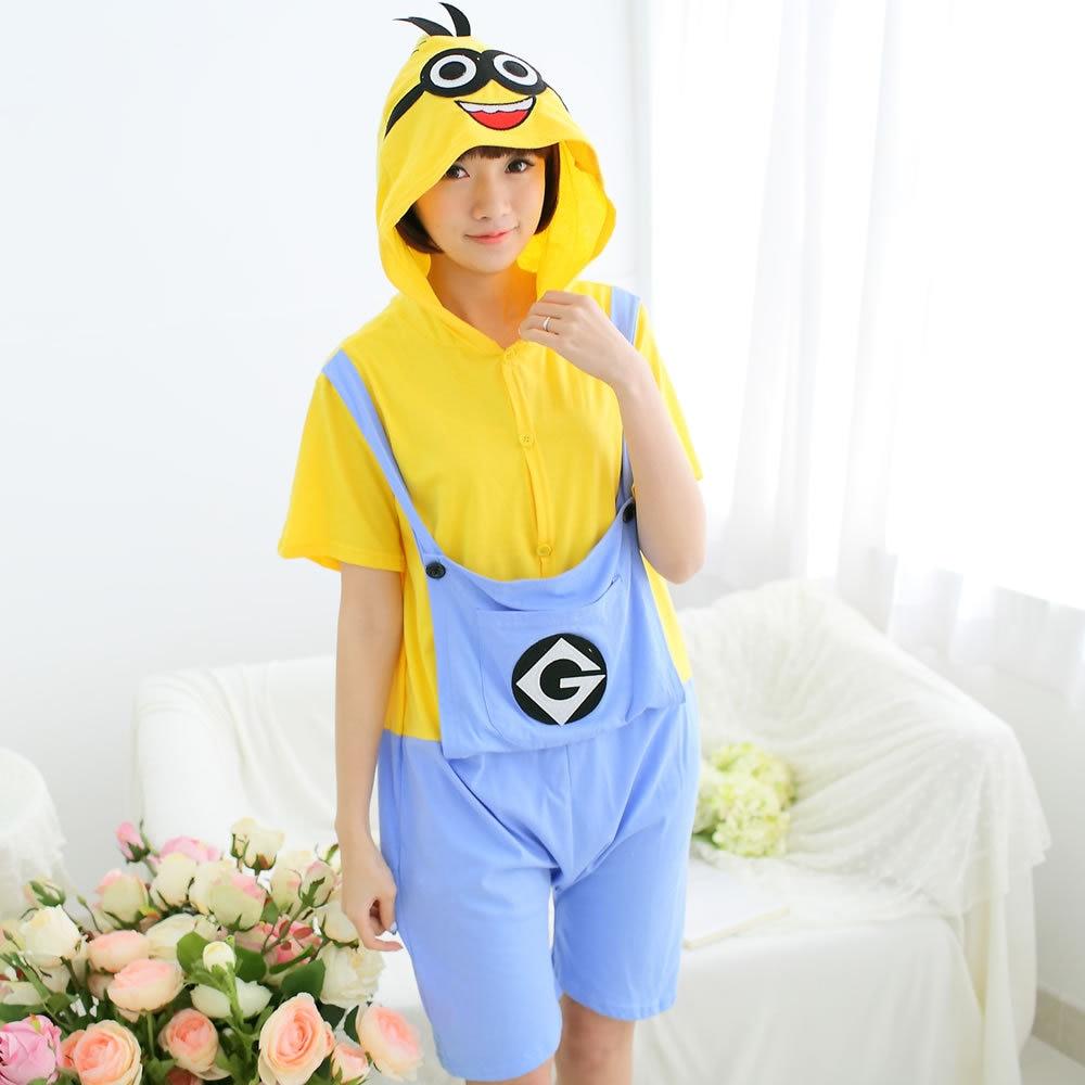 Cotton Animal Family Matching Pajamas Outfits Summer Hooded Yellow Minions Pyjamas Onesie Mother Kids Sleepwear