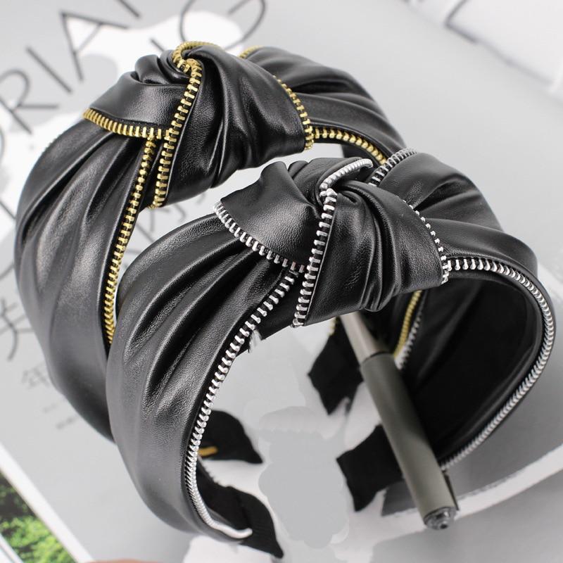 Haimeikang Fashion Black Leather Zipper Hairband For Women Knot Headband Hair Accessories Knot Hair Bands Head Wrap