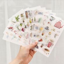 6 шт. креативные кавайные животные суккулентные растения липкие бумажные милые декоративные наклейки для дневник, фотоальбом для скрапбукинга студентов