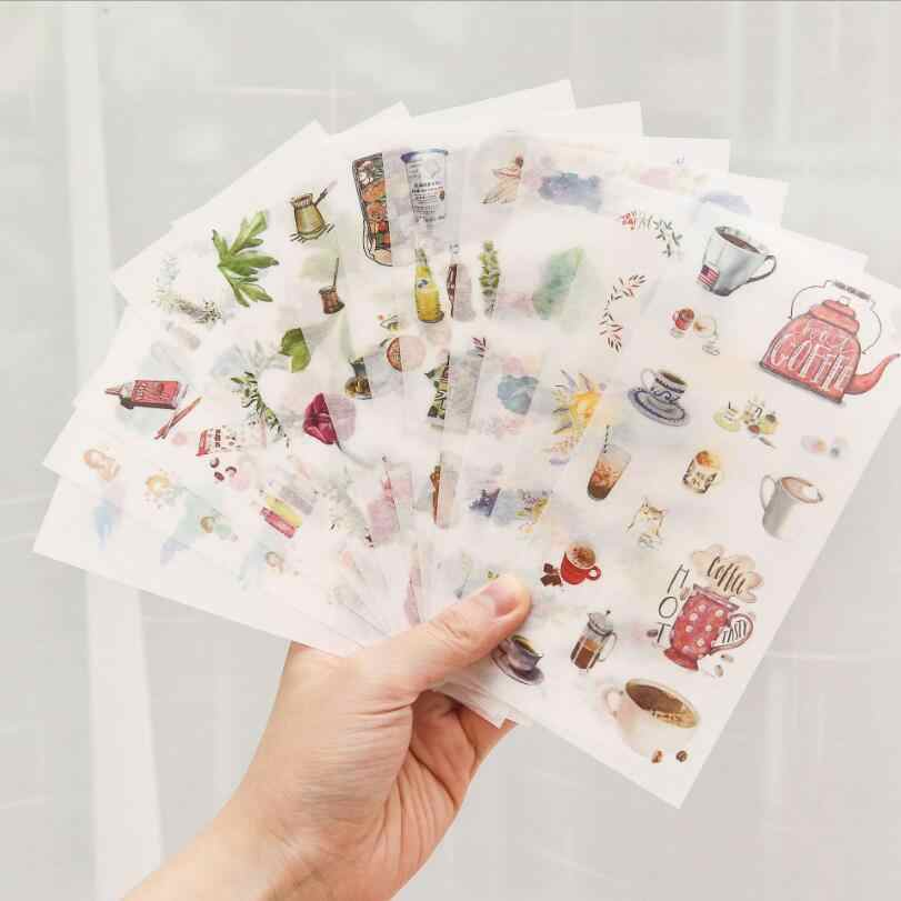 6 pcs Creative Kawaii Animal Succulent plants Sticky Paper Cute Decorative Stickers For Diary Photo Album Scrapbooking Student