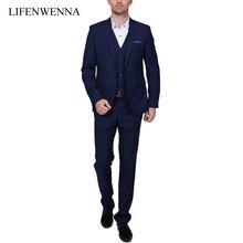 2017 Nuevos Hombres de Los Trajes de Una sola Hebilla de La Marca de Trajes de Chaqueta de Los Hombres Del Vestido Formal Conjunto Traje de Boda de Los Hombres Trajes de Novio Esmoquin (Jacket + Pants + Vest)