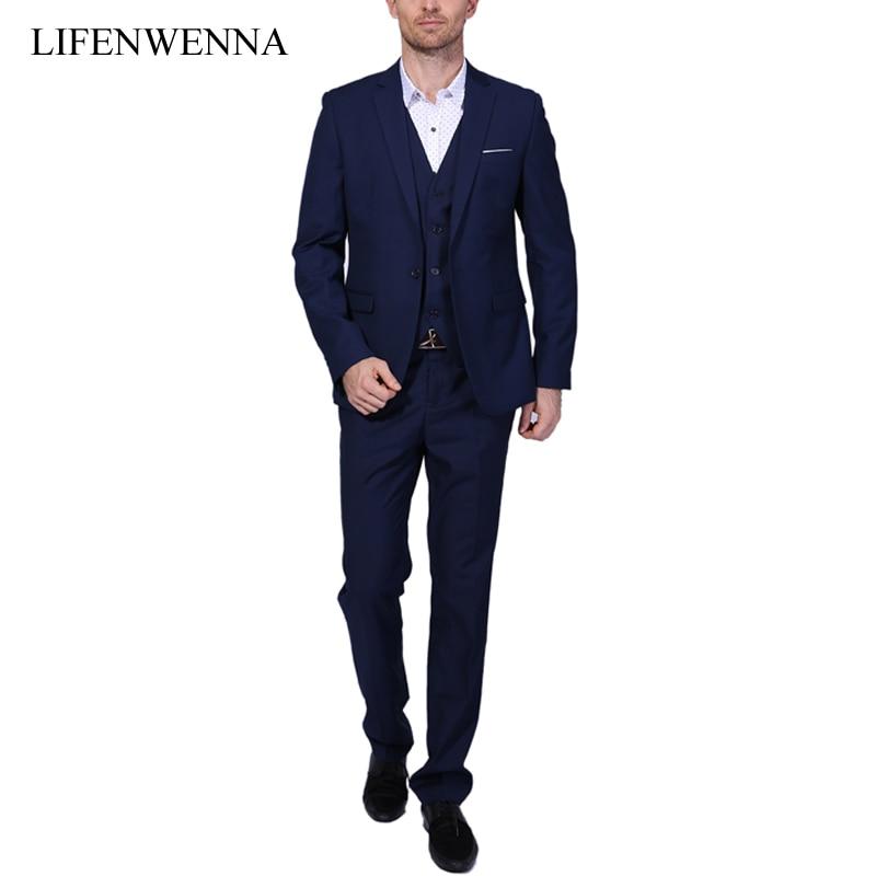 2019 nieuwe mannen pakken een gesp merk suits jas formele kleding mannen pak set mannen bruiloft past bruidegom smoking (jas + broek + vest)