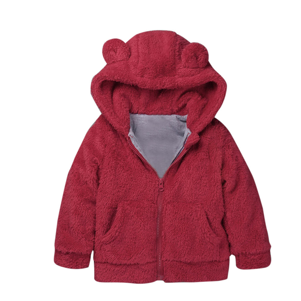 Милый кролик уха с капюшоном для девочек пальто для маленьких девочек и мальчиков осень-зима пальто с капюшоном куртка-плащ плотная теплая ...