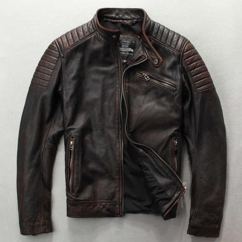 9d4c1678268 Мужская Модная приталенная куртка из натуральной кожи коричневого и черного  цвета