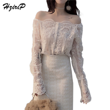 HziriP Hollow Out Lace Blouses Shirts New 2018 Korean Single-breasted Off Shoulder Crochet Sexy Women Clothing Long Sleeve Tops