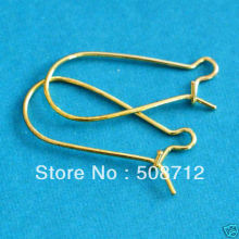 Free shipping!!!!!2000pcs/lot 38mm  DROP GOLD PLATED KIDNEY EARWIRES HOOKFree Nickel HEW0101