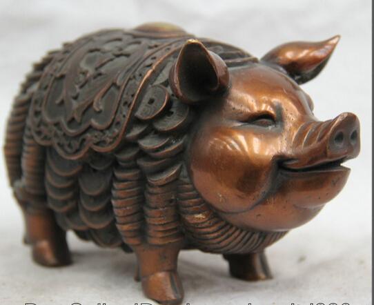 JP S0524 7 China Chinese Bronze money wealth Zodiac Year Pig animal Statue Feng Shui