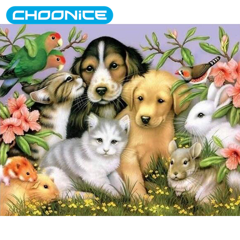 Diamond Embroidery Animals DIY 3D Pet Cat And Dog Garden Lodge Diamond Painting Pokemon Flowers Animal Family Paintings