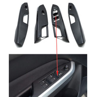 Carbon Fiber Or Wood Style Car Interior Door Armrest Window Switch Button Cover Trim Sticker For