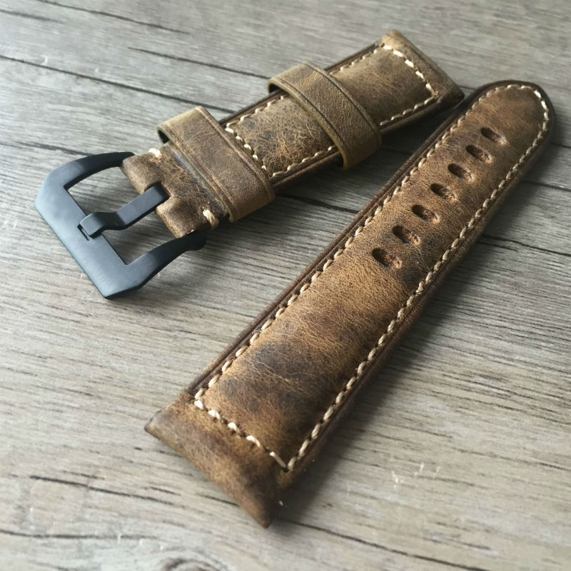 Straps 20mm 22mm 24mm 26mm Calf Skin Genuine Leather Watch Band With Watch Stainless steel black Buckle For Panerai Watch Strap wholesale 10pcs lot 20mm 22mm 24mm 26mm genuine leather crazy horse leather watch band watch strap man watch straps black buckle