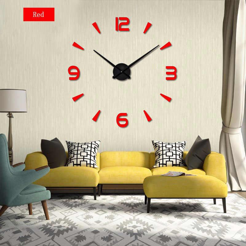 2020 süper büyük 3d DIY ayna duvar saati akrilik Metal Modern dijital saatler Sticker duvar süslemeleri saatler ücretsiz kargo