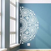 Half Mandala Flower Wall Sticker Meditation Style Vinyl Decal Home Living Room Mural Window W428