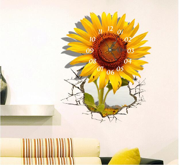 3d Wallpaper For Bedroom Price 3d Wall Sticker Wall Clock Sunflower Painting Clock Study
