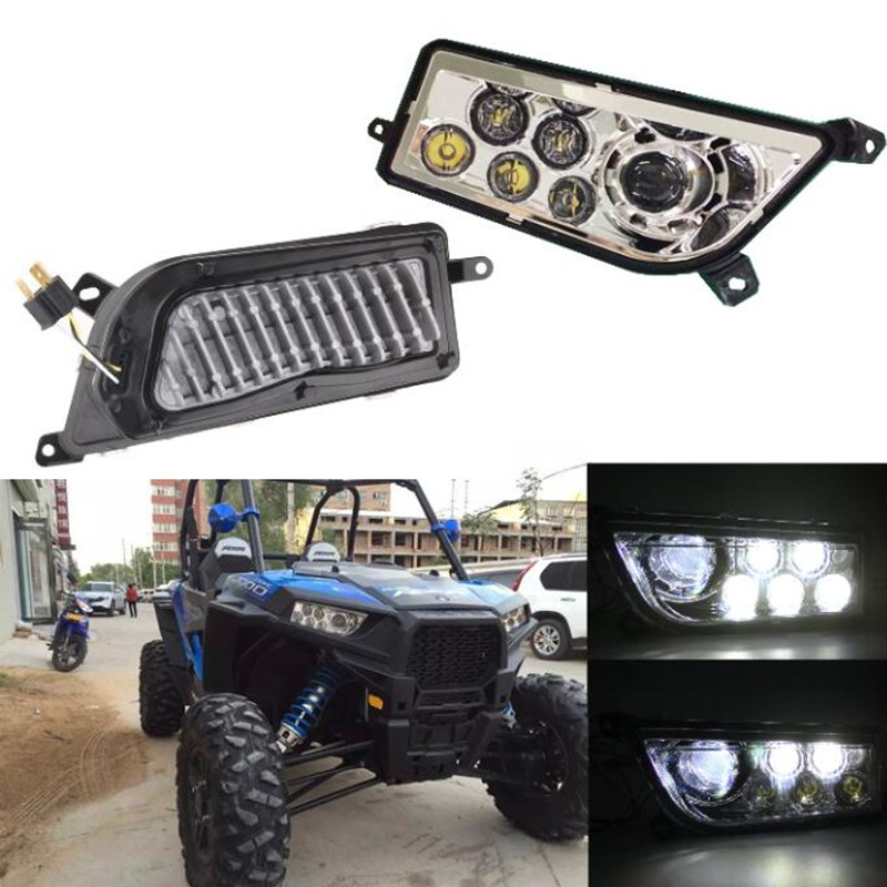 Chrome LED Headlight kit 12V 24V 30W Polaris Razor 1000 LED Headlamp UTV ATV LED Head Light for RZR XP TURBO