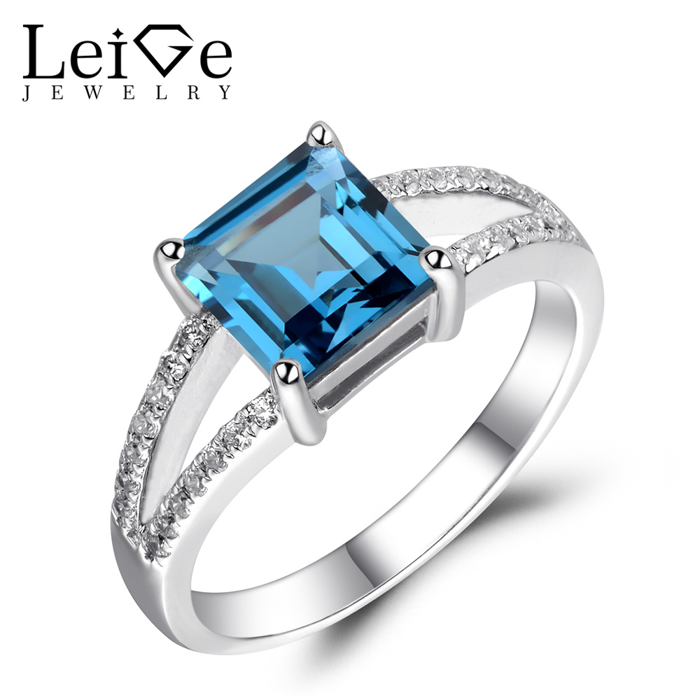 Leige Jewelry London Blue Topaz Ring Square Cut Blue Gem Engagement Wedding Rings for Women Sterling Silver 925 Fine Jewelry