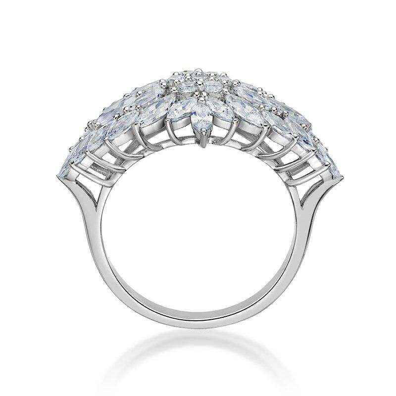 AINUOSHI exaggrille fleur 925 en argent Sterling femmes bagues de fiançailles de mariage anniversaire filles anneaux cadeaux anillos de animales - 2