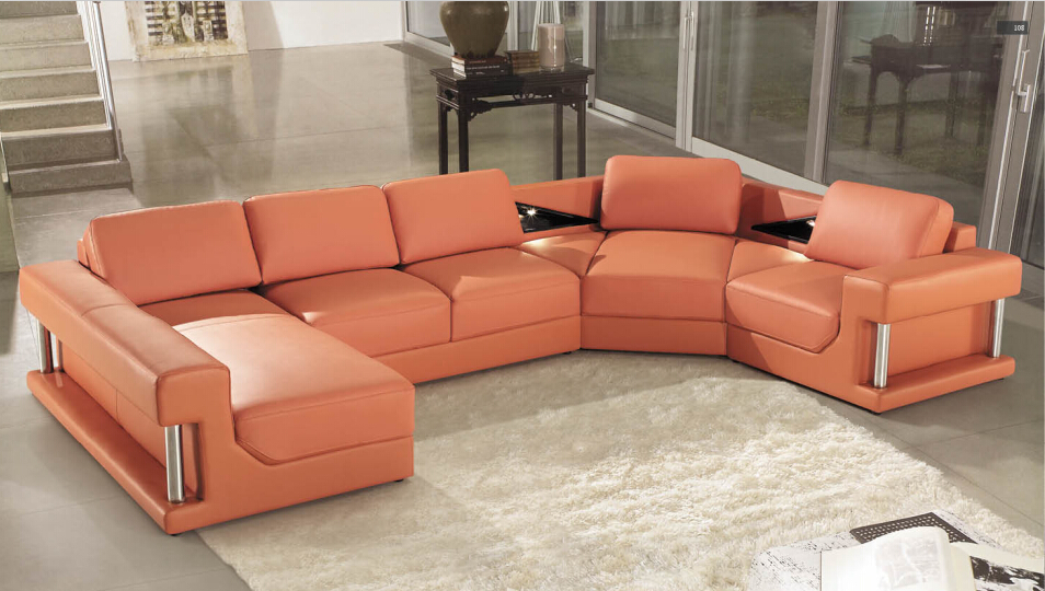 US $1298.0 |Sofas for living room with leather corner sofas for modern sofa  set included BIG ottoman-in Living Room Sofas from Furniture on AliExpress