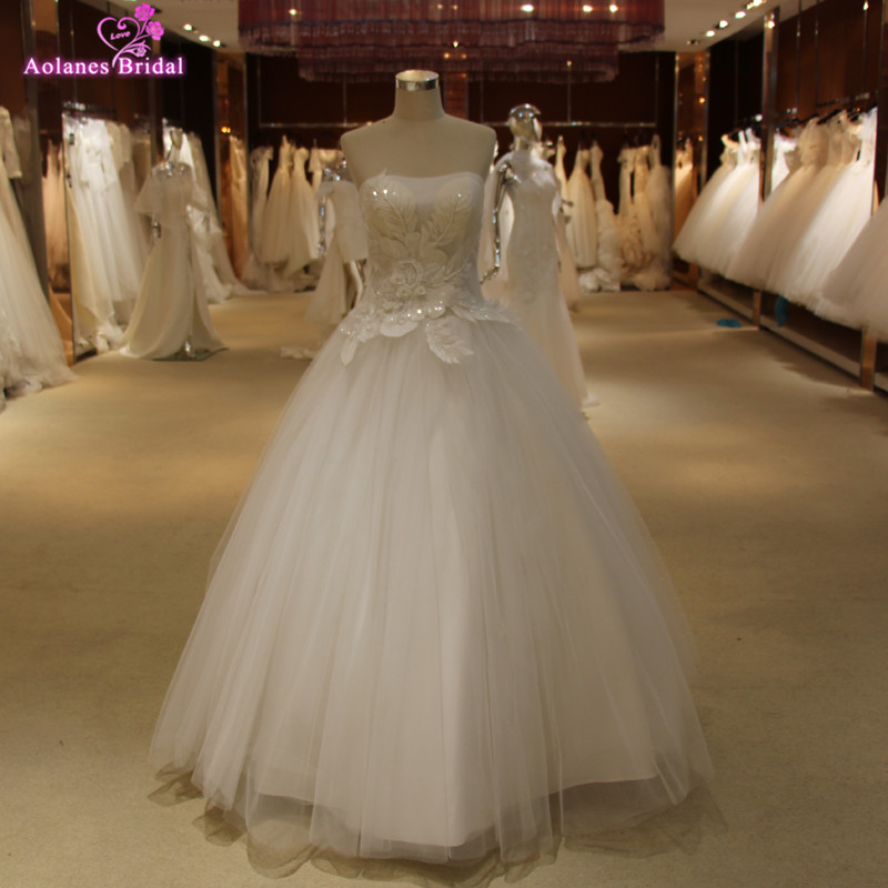 Real Photo Lace Flowers With Pearls Details Ball Gown