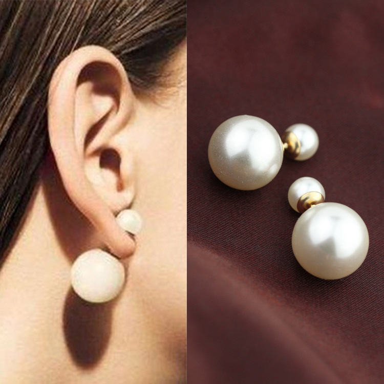 Stud Earrings For Women Double Side Shining Two Sided Imitation Pearl Earings Fashion Jewelry 2017 Dropshipping In From