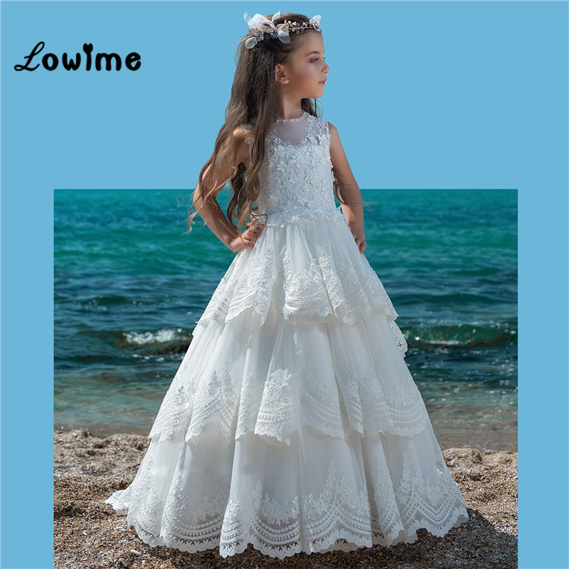 Tiered Lace Applique   Flower     Girl     Dresses   For Weddings Custom Made White 2018 Communion   Dresses   Vestido Daminha Pageant   Dresses