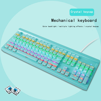 Game keyboard Mechanical Keyboard 104 key Crystal Key Cap RGB Backlight Keyboard Blue Switch Waterproof Multi color Optional