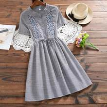 0d4fad87a16 Vintage Summer Women A-Line Dress Striped Cotton Linen Vestidos Mujer Short  Sleeve String Mini Dress With Embroidery WF272