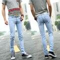 Marca de moda Para Hombre Skinny Jeans Para Hombre Classic Slim Fit Stretch Jeans Ajustados de Mezclilla Azul Pantalones Vaqueros Masculinos Pantalones Lápiz Negro pantalones vaqueros