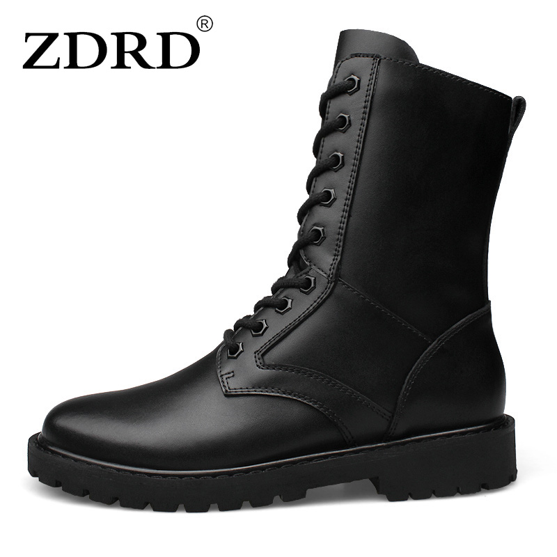 ZDRD New Arrival Men Boots 100% Genuine Leather Army Military Desert Boots Shoes Breathable Men Ankle High Top Motorcycle boots kelme 2016 new children sport running shoes football boots synthetic leather broken nail kids skid wearable shoes breathable 49