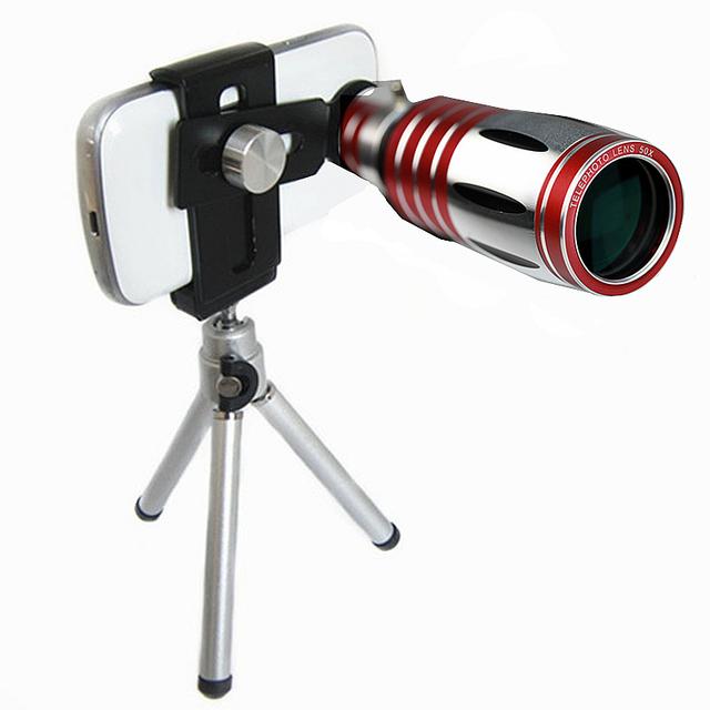 ORBMART Universal Clip Ajustable 50X Zoom Óptico Aluminio Telescopio de la Lente + mini trípode para iphone 6 6 s 7 7 plus samsung xiaomi