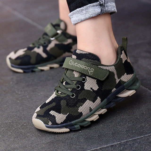 Camouflage Kids Sneakers For Boys Breathable Air Mesh Running Shoe Children Sports Shoes Outdoor Velcro Army Green/Blue Trainers