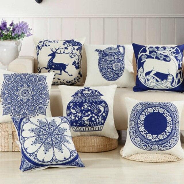 BZ251 Cinese classica porcellana bianca e blu Copertura del cuscino Federa cusci