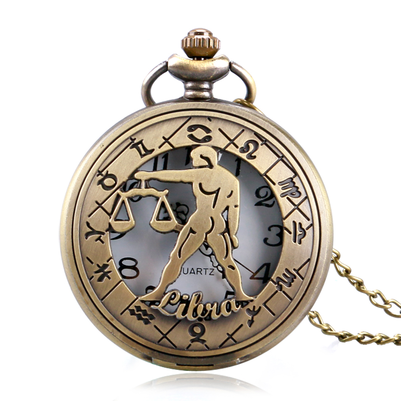 Horoscope Theme Pocket Watch Men Women Hollow Constellation Retro Pendant Zodiac Necklace Watches Gift For Libra P1061