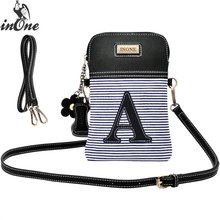 INONE Canvas Striped Monogram Letters Anchors Shoulder Bags for Women 2019 Crossbody Cell Phone Unique Design Handbag Purse Bag